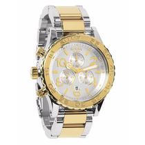 Reloj Nixon A037-1431 Cronógrafo 42mm Dorado Plateado Nuevo