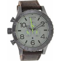 Reloj Nixon A124-1388 Cronógrafo Acero Inox. Correa De Cuero