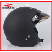 Casco Zeus Para Moto Custom Chopper Tipo Harley Negro Mate