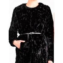Abrigo De Piel Estilo Borrego Negro Mujer Elegante