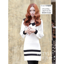 Vestido De Lana Blanco Diseño Coreano Talla L