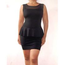 Vestido Negro De Licra Con Vuelo A La Cintura Para Gorditas