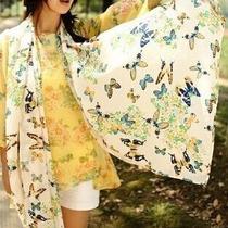 Pashmina Bufanda Multiusos De Gasa Mariposas Corea En Stock