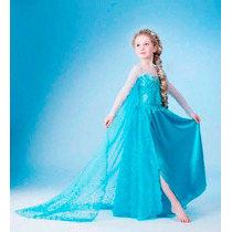 Vestido Elsa Frozen Capa Larga - En Stock Importados