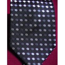 Hermosa Corbata Importada De Seda Negro Con Plateado M-517
