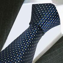 Preciosa Corbata De Seda Azul Y Blanco,importada,m-0088
