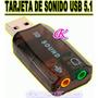 Tarjeta De Sonido Externa Usb 2.0 P/audifono Y Microfono 5.1
