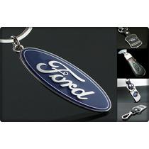 Ford Ecosport Mustang Ranger Llavero Cromado Y De Cuero