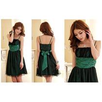 Lindo Vestido Con Tul Tono Verde Importado De Asia Stock