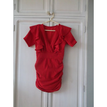 Vestido Rojo Con Adorno De Bobos Manga Corta