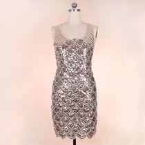 Vestido Elegante Con Aplicaciones Talla M Importado En Stock