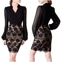 Vestido Negro Con Encaje Elegante Nuevo Importado En Stock