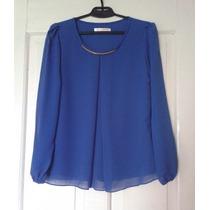 Blusa Elegante De Gasa Azul Talla L Importada Nuevo Stock