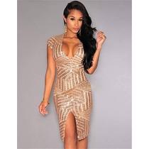 Hermosos Vestidos Importados De Encaje Para Fiestas Dorado