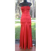 Vestido Largo Rojo Fiesta Matrimonio Tela Seda Xs S Stock