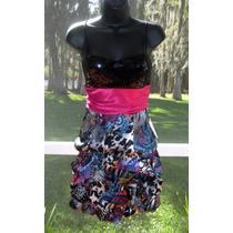 Vestido Tiritas Tela Satinada Negro Importado 9 M/l Stock