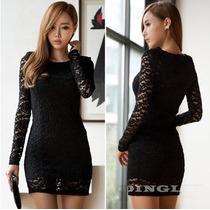 Vestido Elegante De Encaje Negro Importado Stock Elle851
