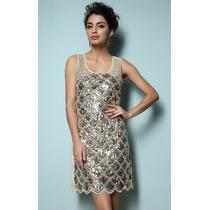 Vestido De Fiesta Dorado Talla M Nuevo En Stock Elle851