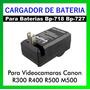 Cargador P/bateria Bp-727 718 P/ Canon Vixia R300 R400 M500