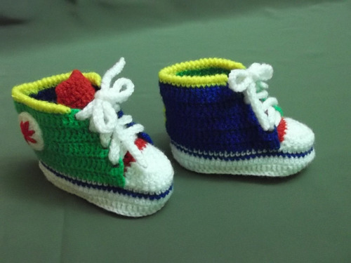 Sneakers Para Beb A Crochet Tipo Converse All Star 13 | cheap product