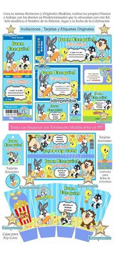 Kit Editable Candy Bar Baby Looney Tunes Bebes Cotillon En