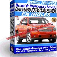 Manual de Reparacion Taller Chevrolet Avalanche  Escalade  Suburban 2007 2008 2009